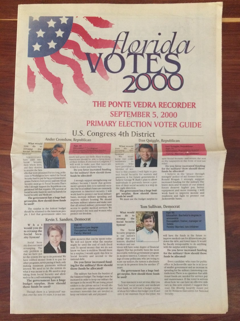 The Ponte Vedra Recorder's 2000 primary election voter guide.