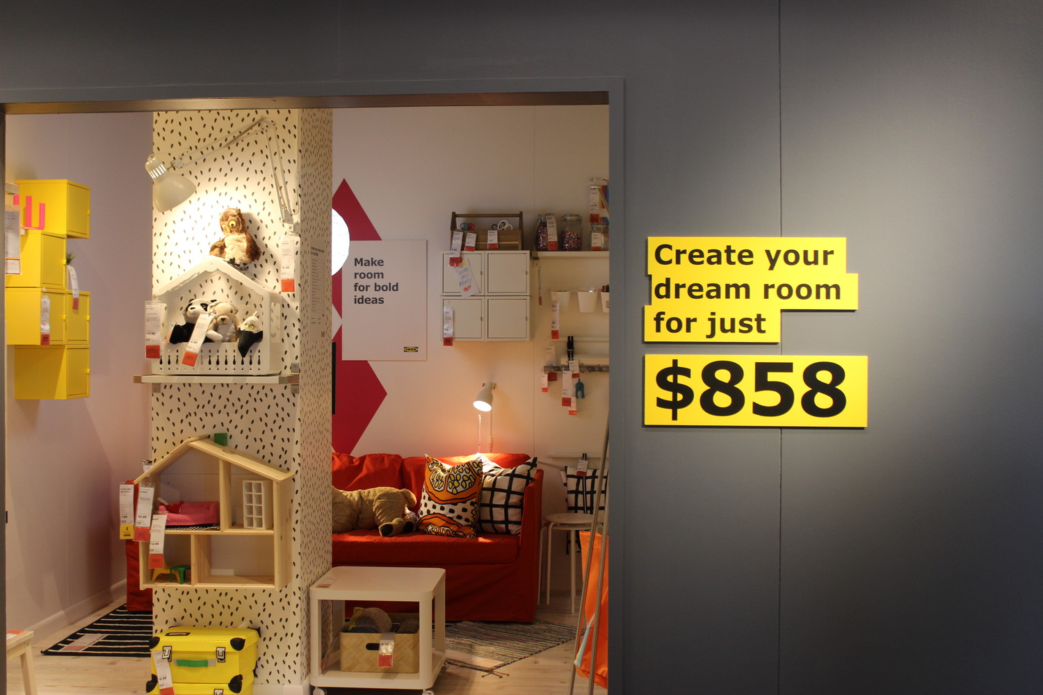IKEA in Jacksonville has 50 specially designed room displays, which include all the finishings and total cost to create an identical space.