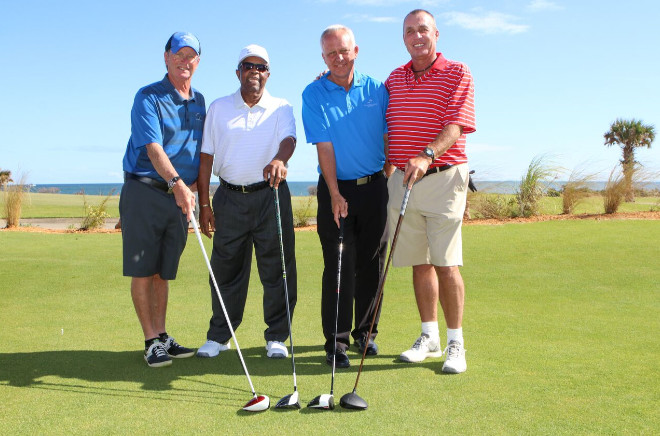 The ceremonial first foursome at the re-opening of the Ocean Course at Hammock Beach gathers. The group includes (from left to right): Paul Propis, the resort's golf committee chairman; Lee Elder, the barrier-breaking, four-time PGA TOUR winner; Brad Hauer, Hammock Beach Resort's director of golf; and Tennis Hall of Famer Ivan Lendl