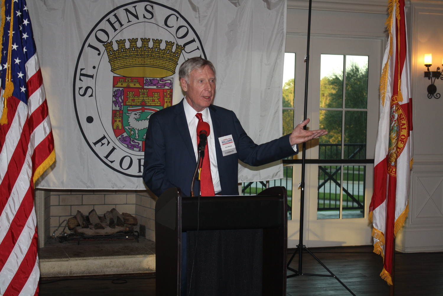St. Johns County Commission District 4 candidate Dick Williams outlines his platform before a crowd of supporters in Nocatee Nov. 2.