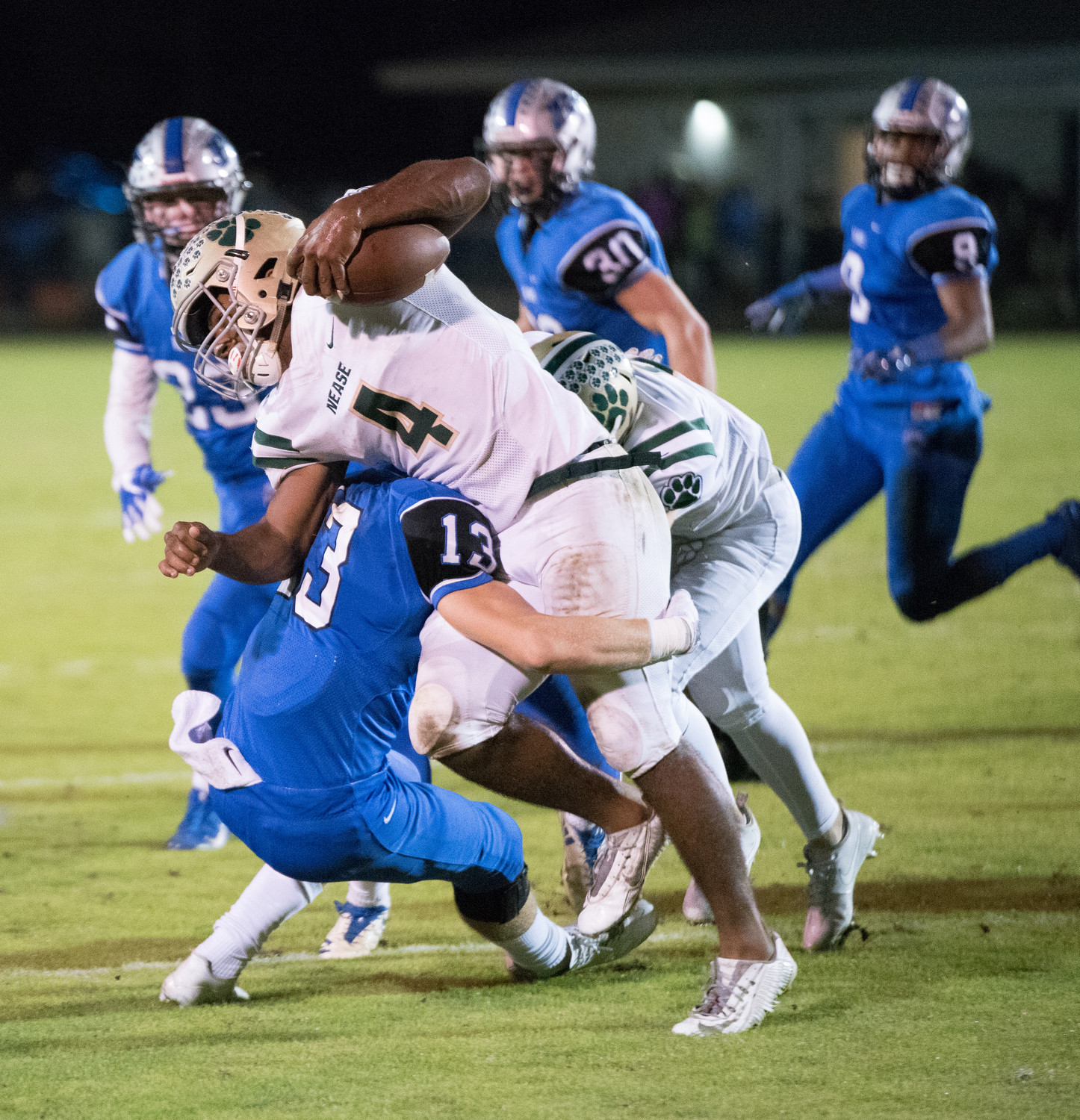 Nease running back Jareem Westcott is tackled by a Bartram Trail defender in last Friday's game.