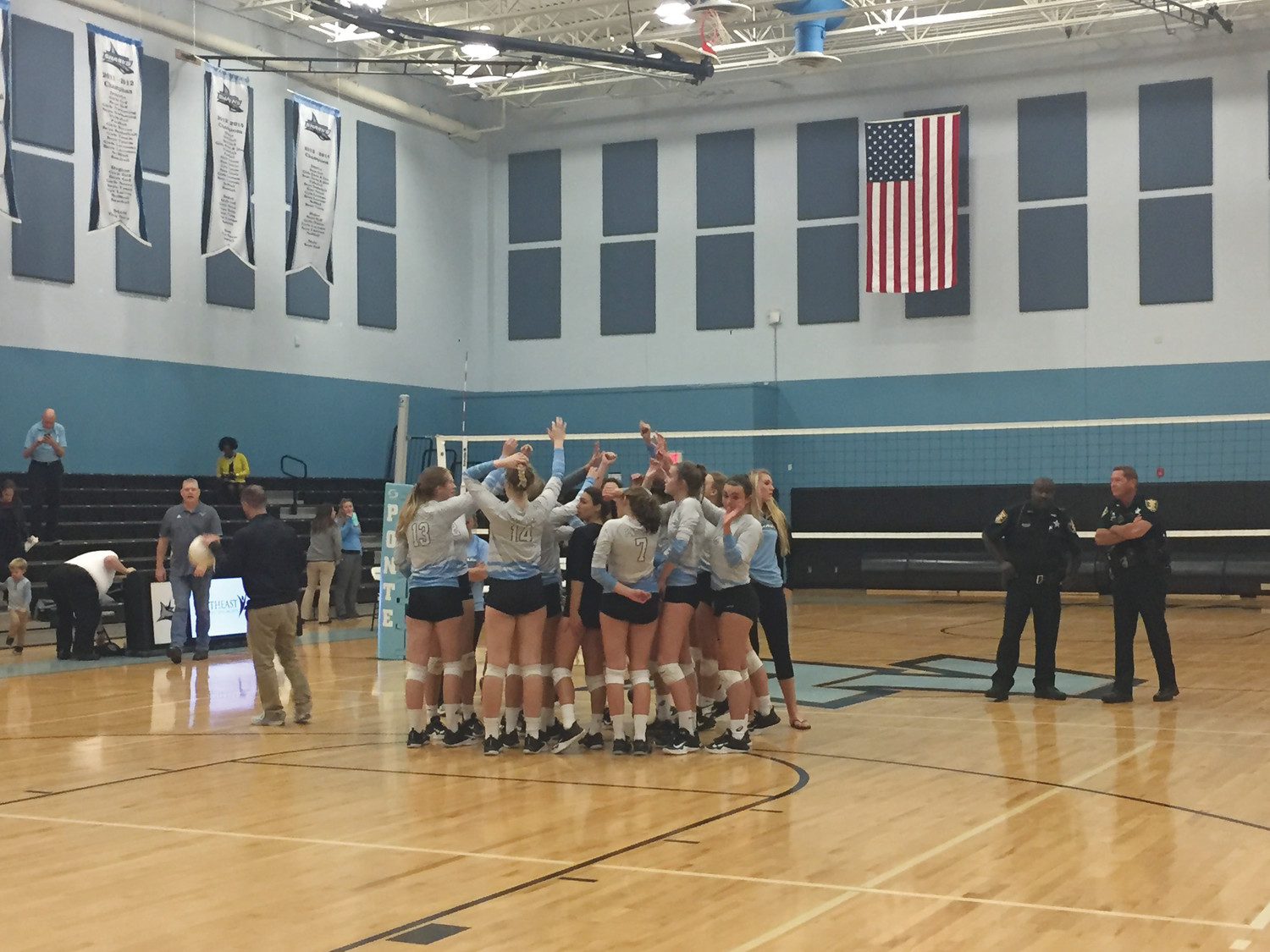 The Ponte Vedra High School girls volleyball squad huddles up during its recent matchup with Santa Fe.
