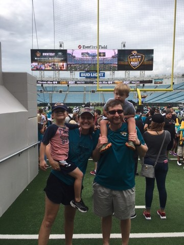 The Tiedeberg family enjoys a Jacksonville Jaguars game at EverBank Field.