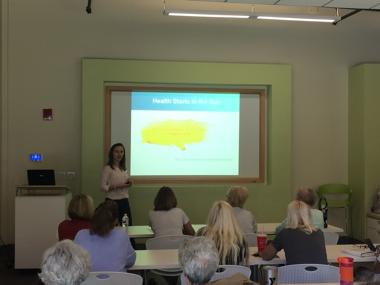 "Julie Schafer, director of health partnerships at Baptist Health, delivers a presentation on the connection between the gut and brain as part of Baptist Health's ""Ask the Expert"" series Nov. 7 at the Ponte Vedra YMCA."