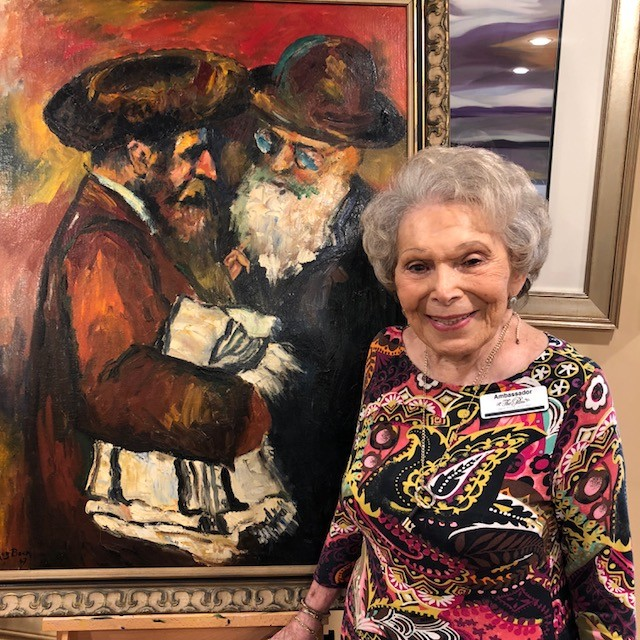 Artist Roz Beck presents her work at The Palms at Ponte Vedra last Friday, Nov. 17. Beck hosted an art exhibition for residents of the assisted living and memory care facility throughout the weekend. The artist's work has its roots in post-World War I in Brooklyn, where her father introduced her to art. Beck refined her painting skills in the 1960s and discovered marble art in the 1970s, which she grew to enjoy. Beck also has a background in art history and art appreciation, lecturing privately and at community college classes in Long Island.