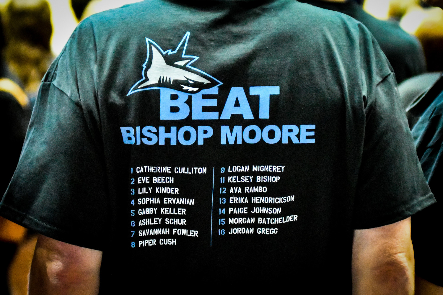 "Ponte Vedra fans sport their ""Beat Bishop Moore"" T-Shirts at the state championship match."