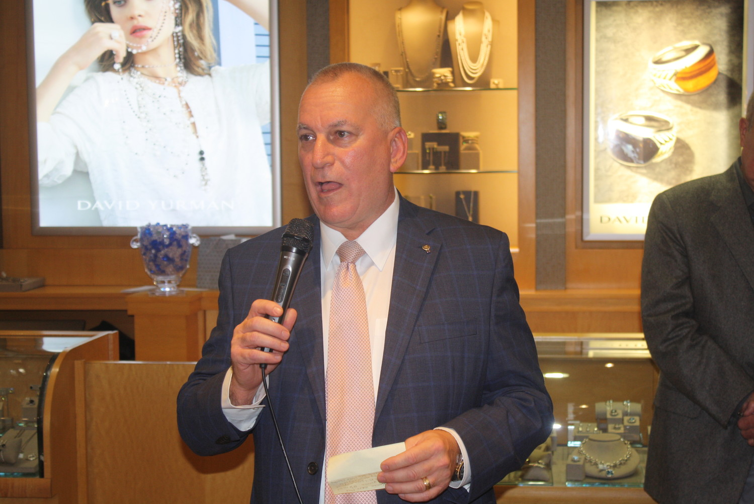 Underwood's Jewelers General Manager John Rutkowski addresses the event attendees.