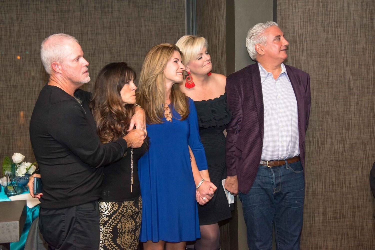 Alan Henderson, Lori Henderson, Lisa Amato, Nikki Kimbleton and Cary Hart gather at the Nov. 26 wine dinner.