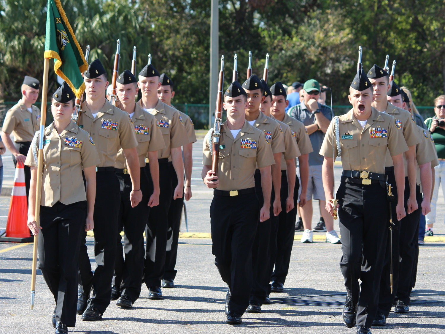 Nease NJROTC's Armed Basic team competes at the drill meet.