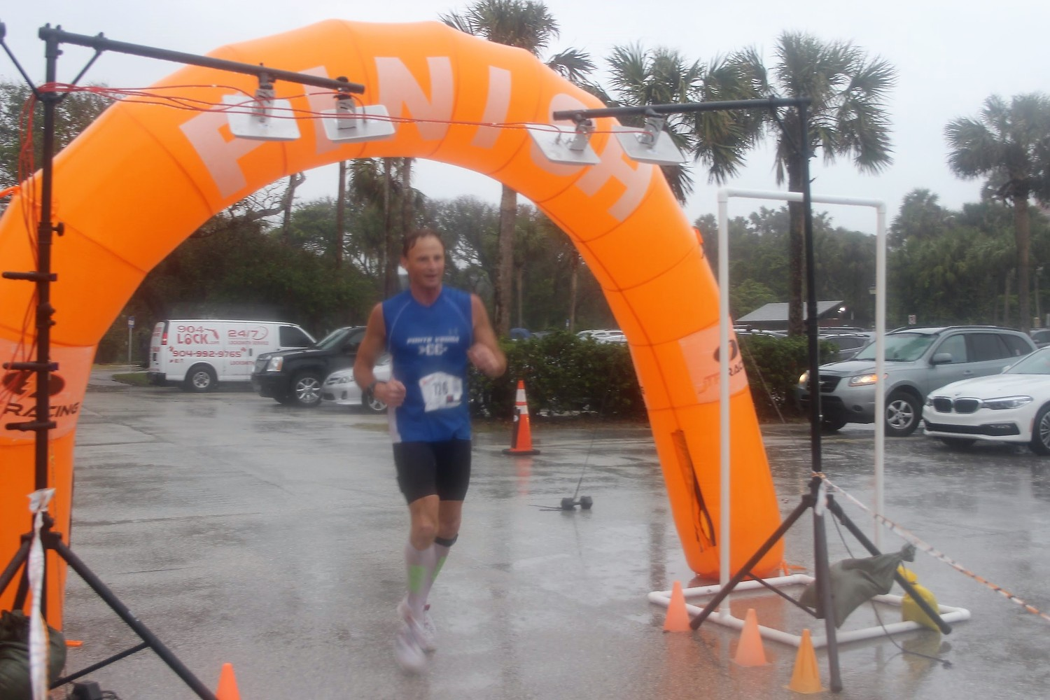 Doug Reimer finishes the Turkey Trot first overall.