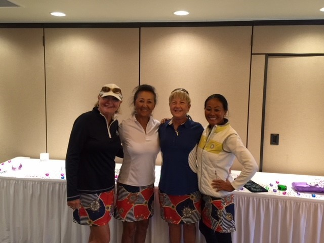 Overall low net winner Kathleen Walker (from left), Sach Price, Andi Phillips and Chi Daniels