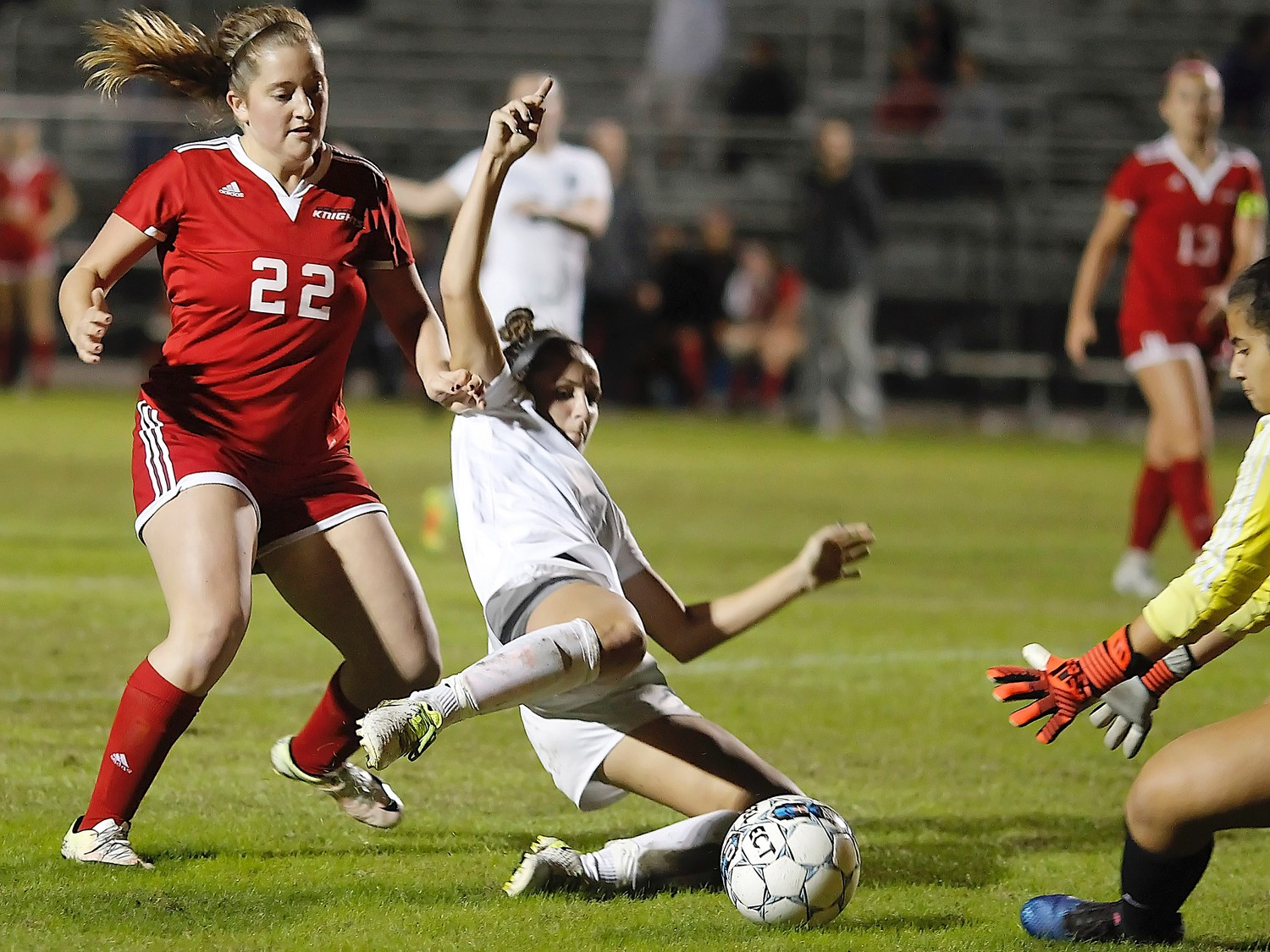Piper Dotsikas fights to control the ball in front of the Creekside goal.