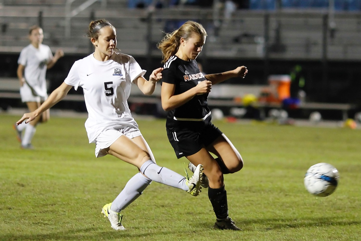 Tatum Taucher sends a shot toward the Orange Park goal.