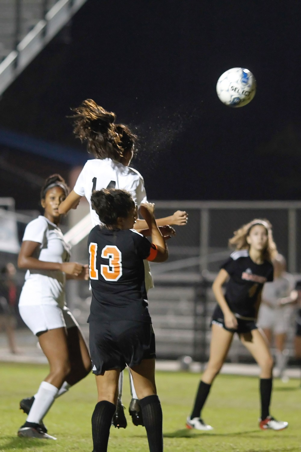 Jada Patel heads the ball into the Orange Park goal for the Sharks.