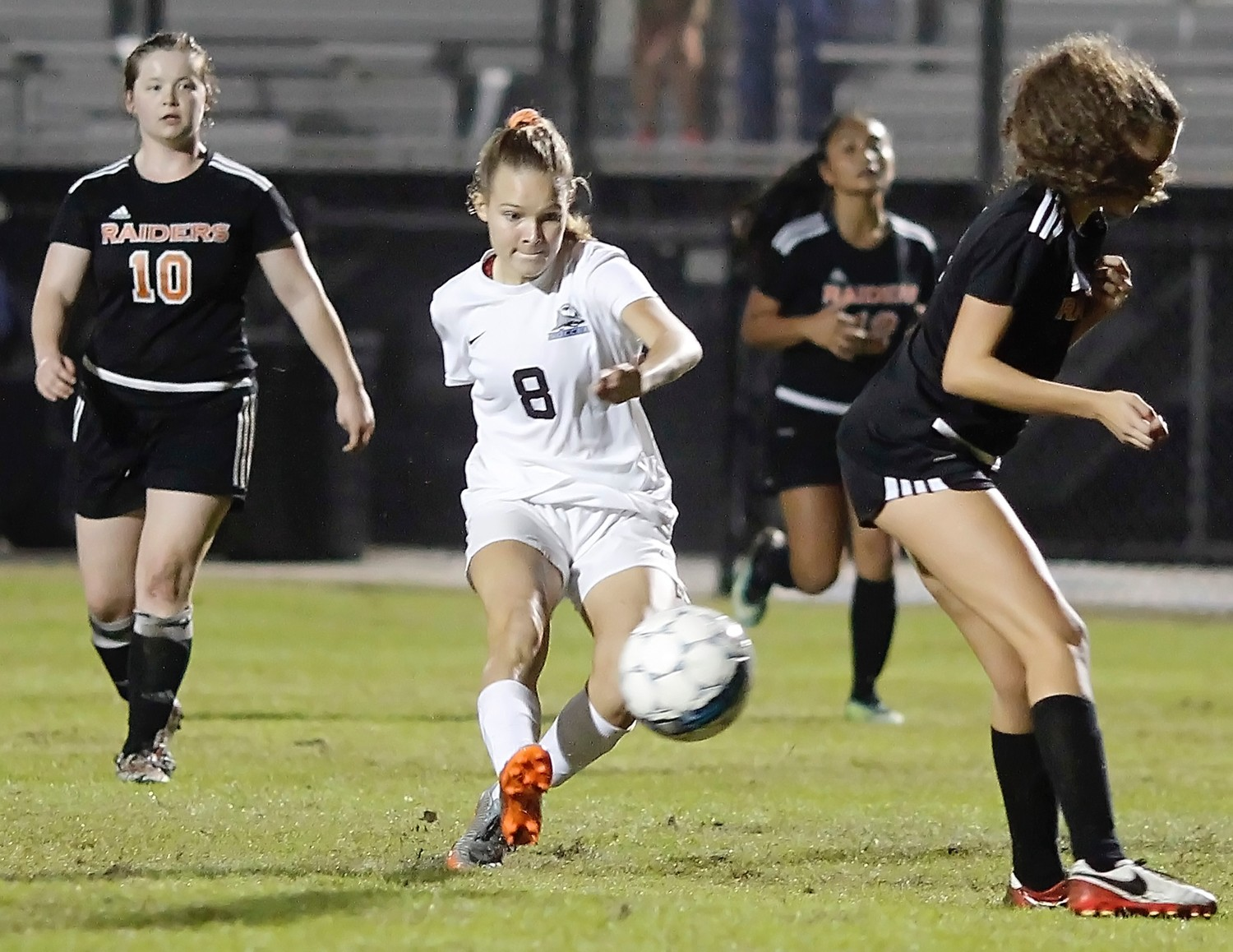 Cassidy Bierwagen gets of a shot on the Orange Park goal.