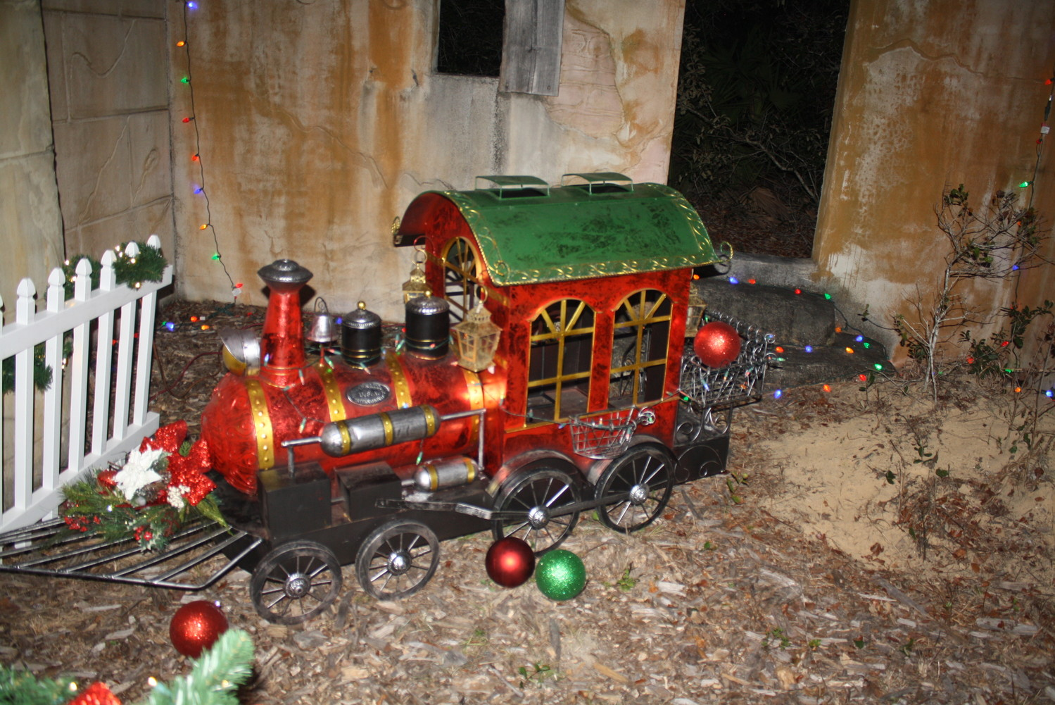 Christmas lights and decorations are displayed throughout the Village's trails.