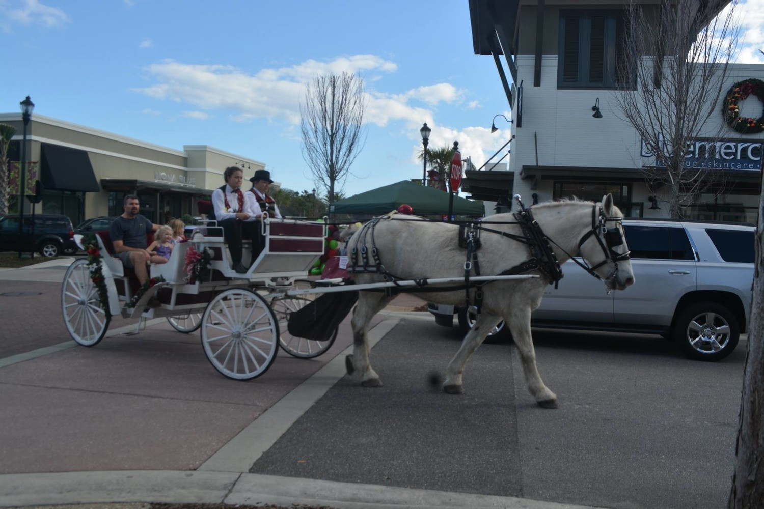 A horse-drawn carriage rolls down the street at Sawgrass Village.
