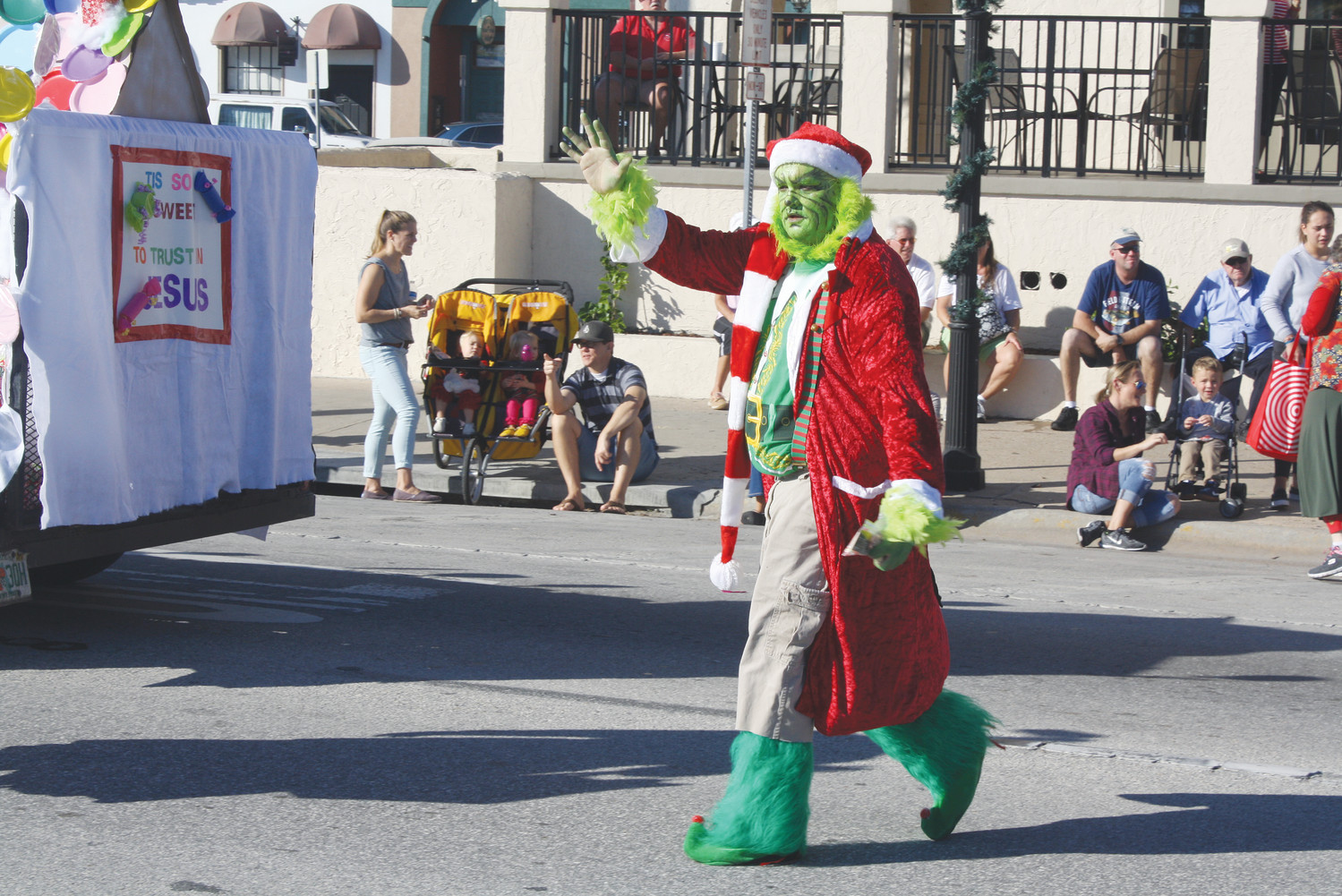 The Grinch makes an appearance at the parade.