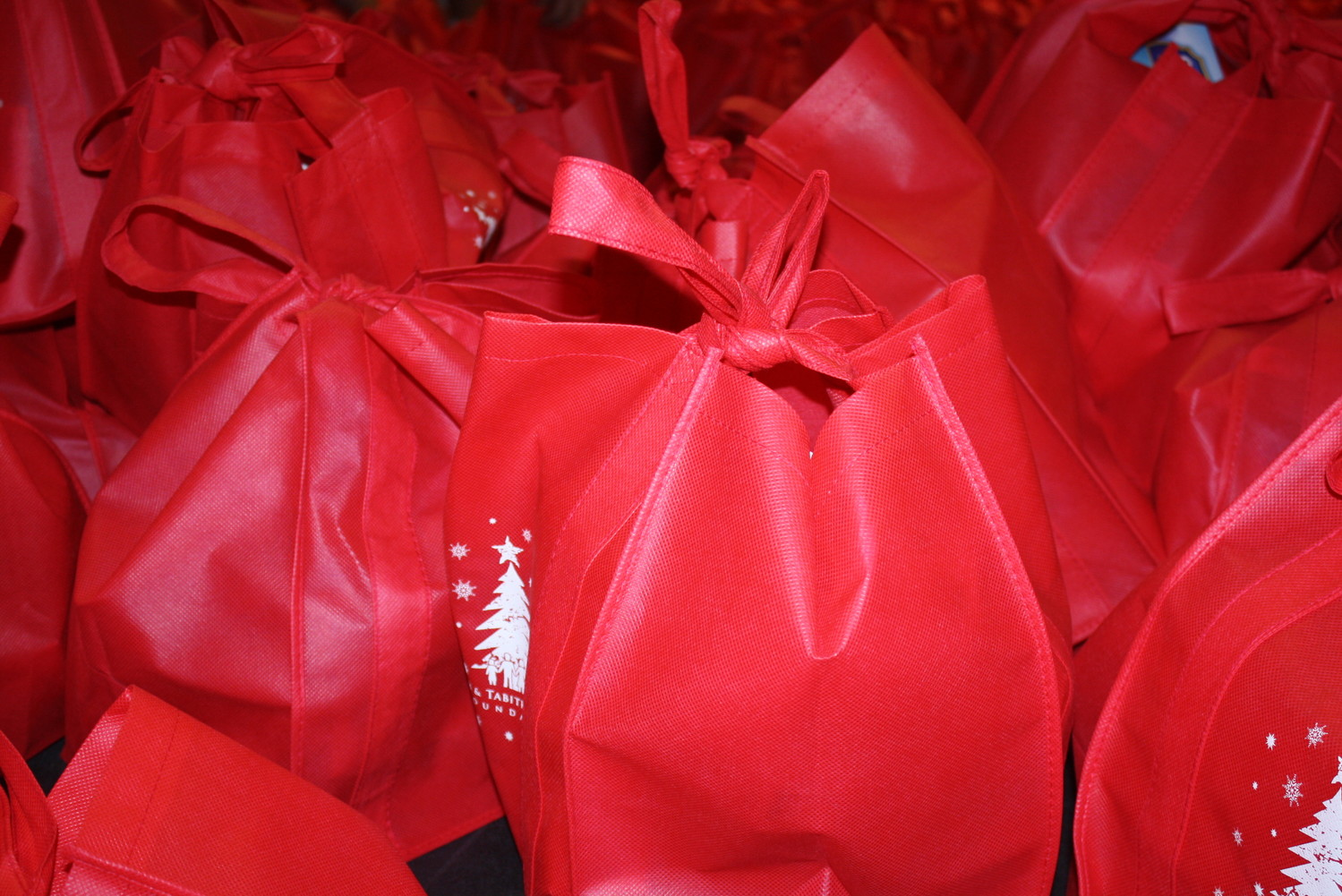 Bags of food await delivery to kids in need this holiday season.
