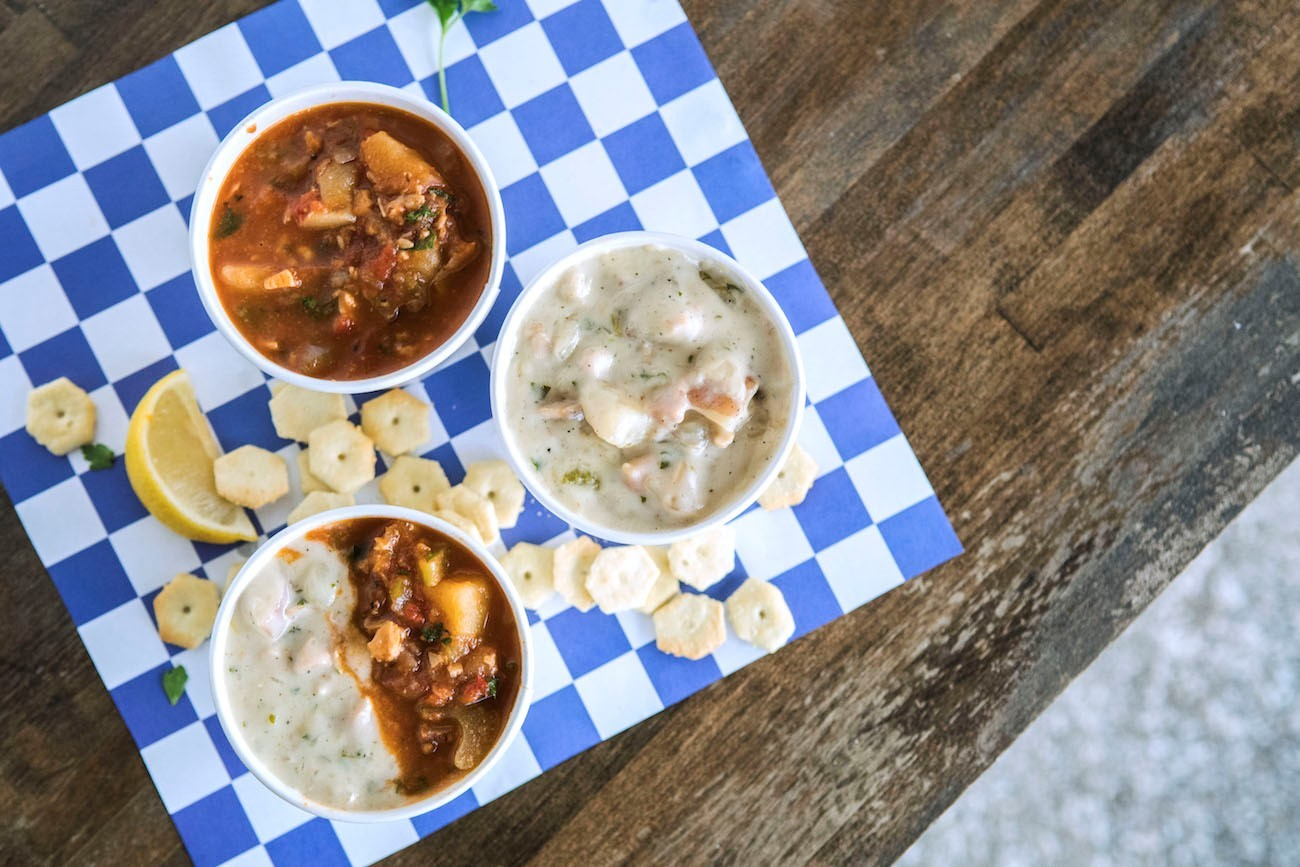 St. Augustine Seafood Company makes fresh Minorcan Conch and New England Clam Chowders daily.