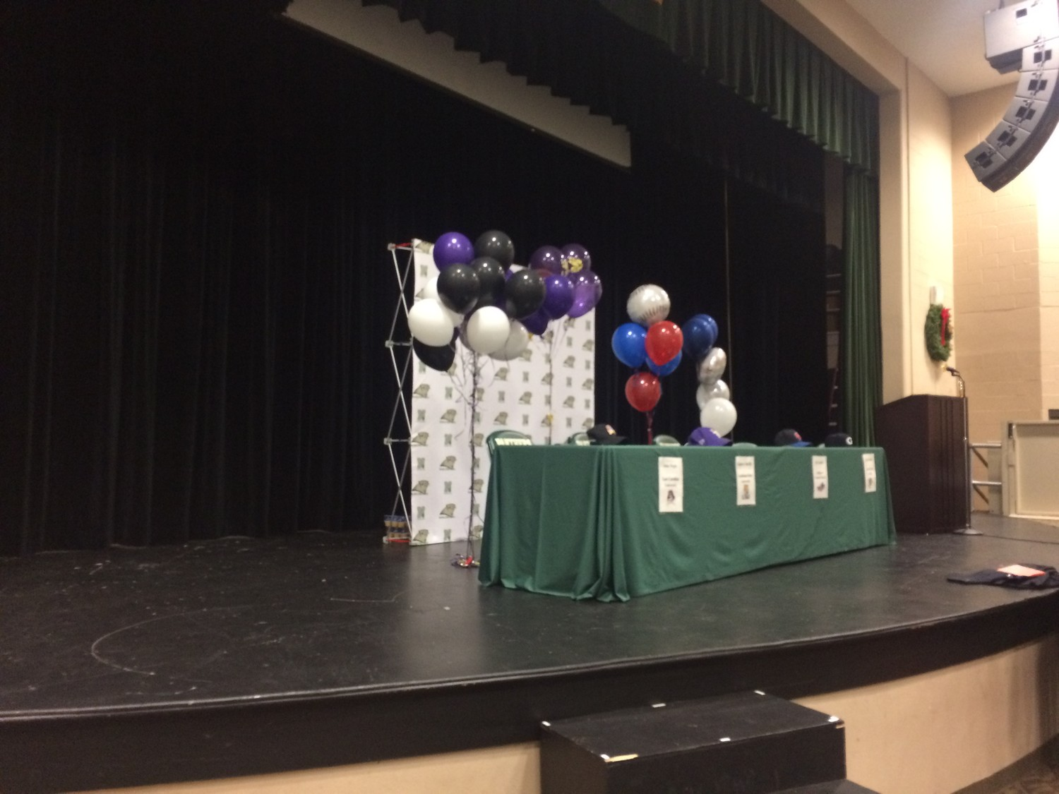 The stage is set for the Nease High School signing day event.