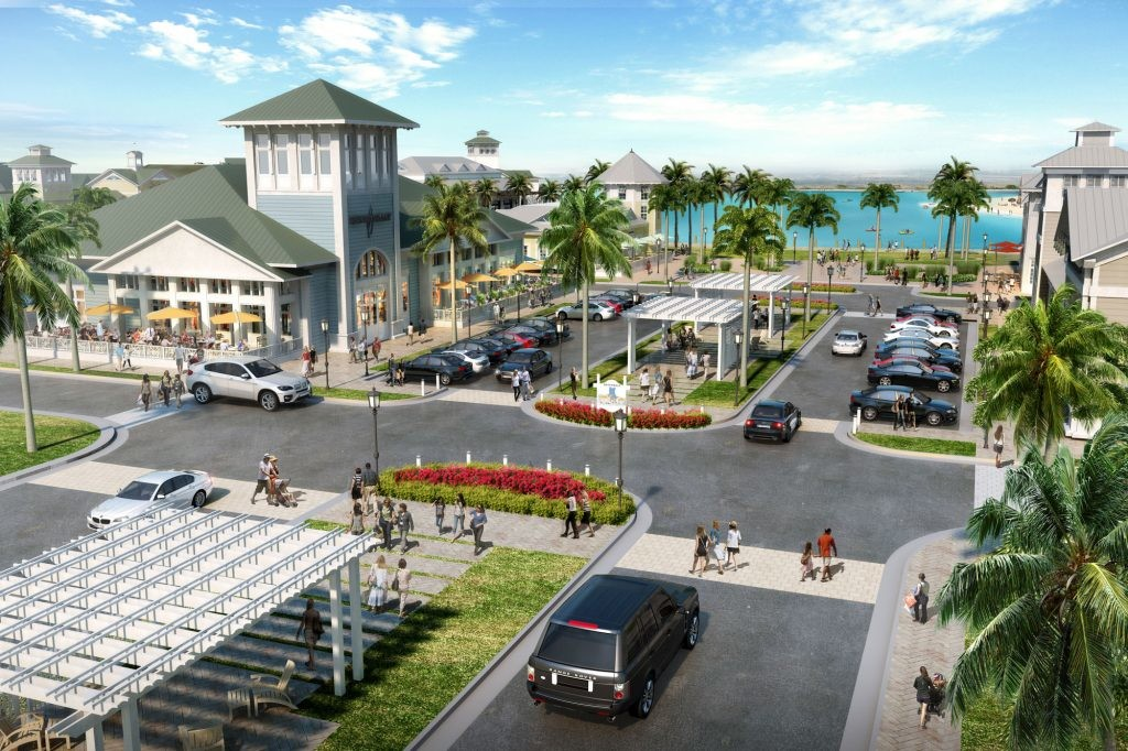 A rendering displays the retail village currently planned for the Beachwalk community.