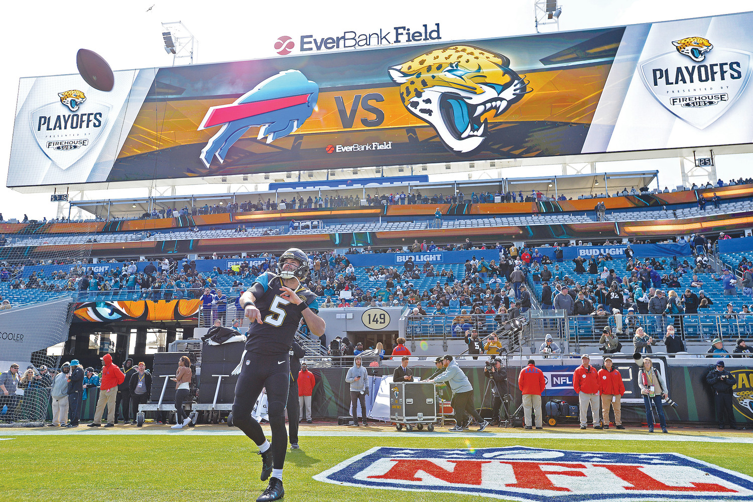 Jaguars quarterback Blake Bortles warms up Sunday, Jan. 7 before Jacksonville defeated the Buffalo Bills 10-3 in the wildcard round of the NFL playoffs.