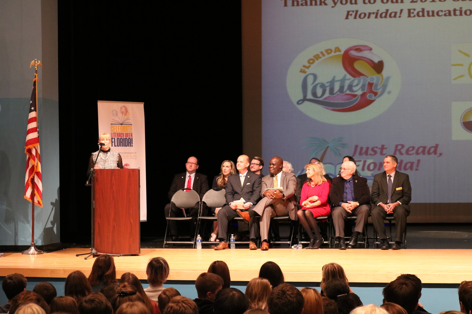 First Lady Ann Scott delivers a speech at the Celebrate Literacy Week kickoff event.