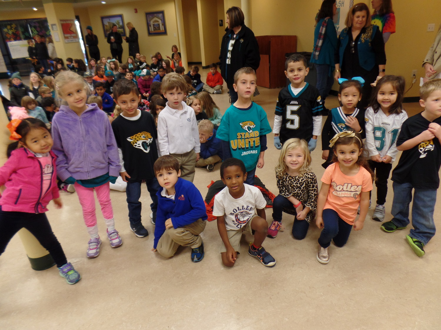 "The Bolles Lower School Ponte Vedra Beach Campus wore more teal and black than orange and blue Friday, Jan. 19, during the school's Jaguars Spirit Day leading up to the team's AFC Championship matchup with the New England Patriots. At the direction of Ponte Vedra Beach Campus Head Peggy Campbell-Rush, students and faculty convened in Ponte Vedra Hall after their flag ceremony for a group chant of ""We are Jaguars,"" and ""Duval."""