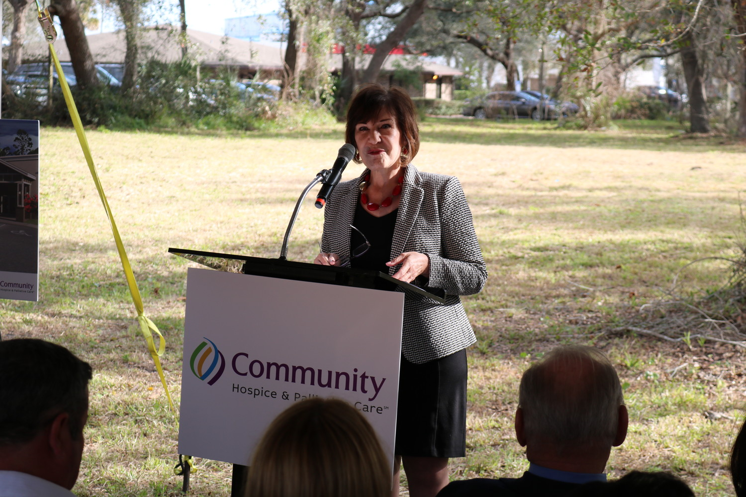 Susan Ponder-Stansel, president and CEO of Community Hospice & Palliative Care, addresses the crowd at the groundbreaking ceremony.