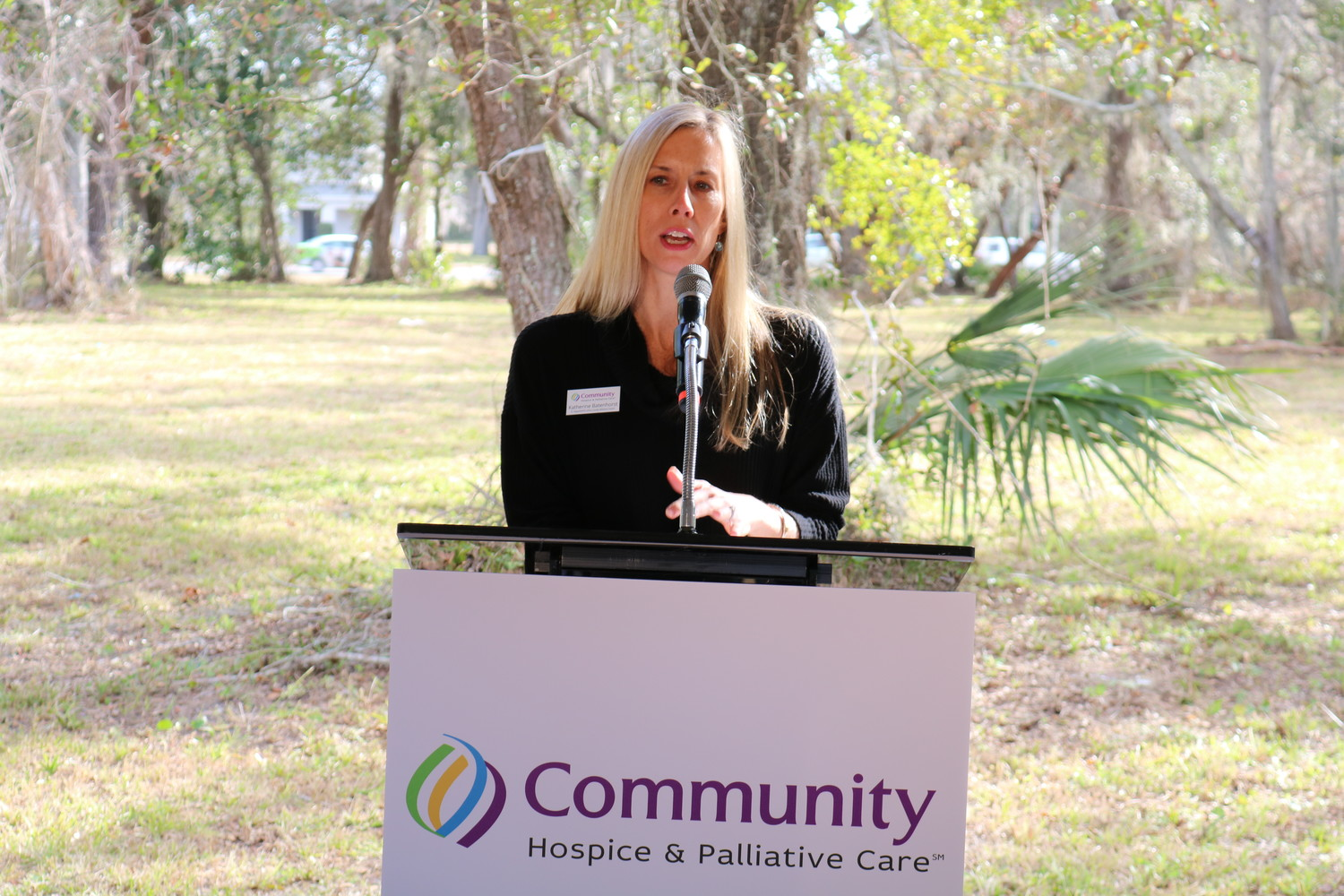 Katherine Batenhorst, who serves as chair of the organization's St. Augustine/St. Johns County Advisory Council, speaks at the groundbreaking ceremony.