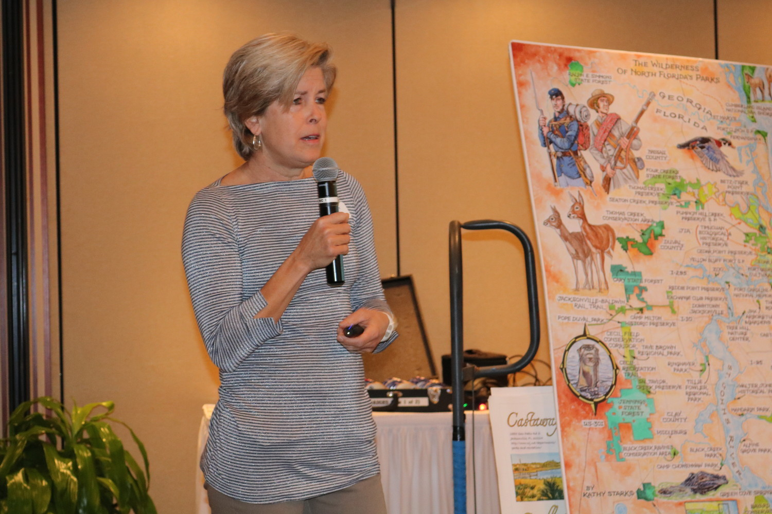 Jacksonville artist Kathy Stark presents her work on the First Coast's natural parks to the Rotary Club of Ponte Vedra Beach Thursday, Jan. 25.