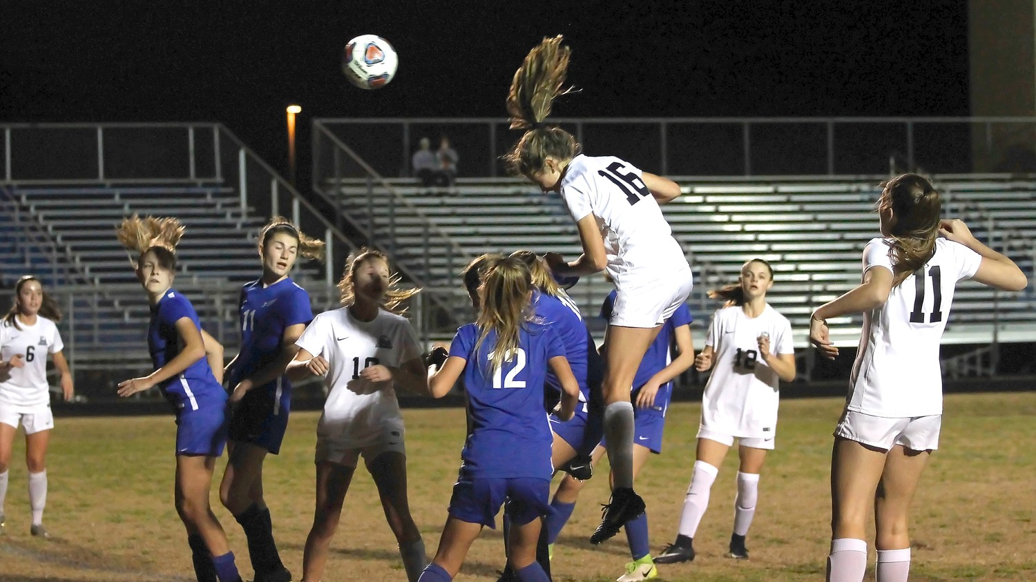 Ponte Vedra's Julia Deal, who scored one of the Sharks' goals, heads the ball toward the Pedro Menendez goal. Tatum Taucher scored the Sharks' other goal.