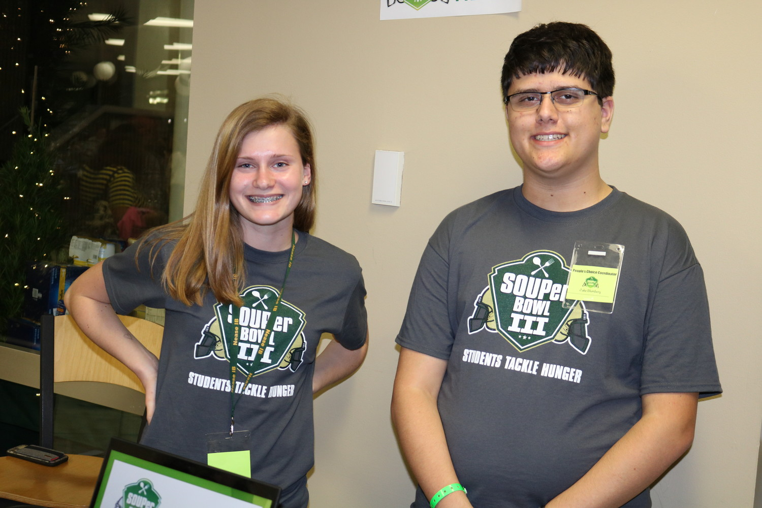Volunteers Nell Crlenjak and Jake Blumberg