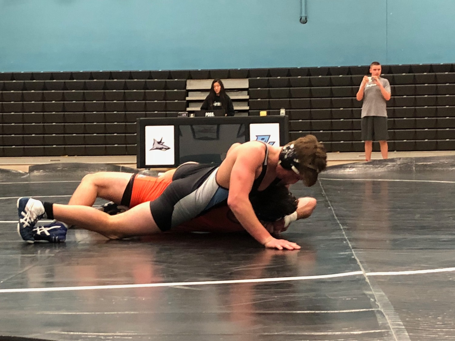 Sharks Junior Troy Maritato wrestles his Bolles opponent to a 13-3 major decision.