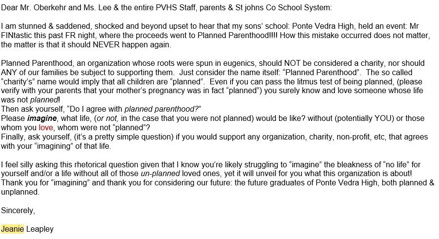 Jeanie Leapley's letter to Ponte Vedra High School and St. Johns County School District administration