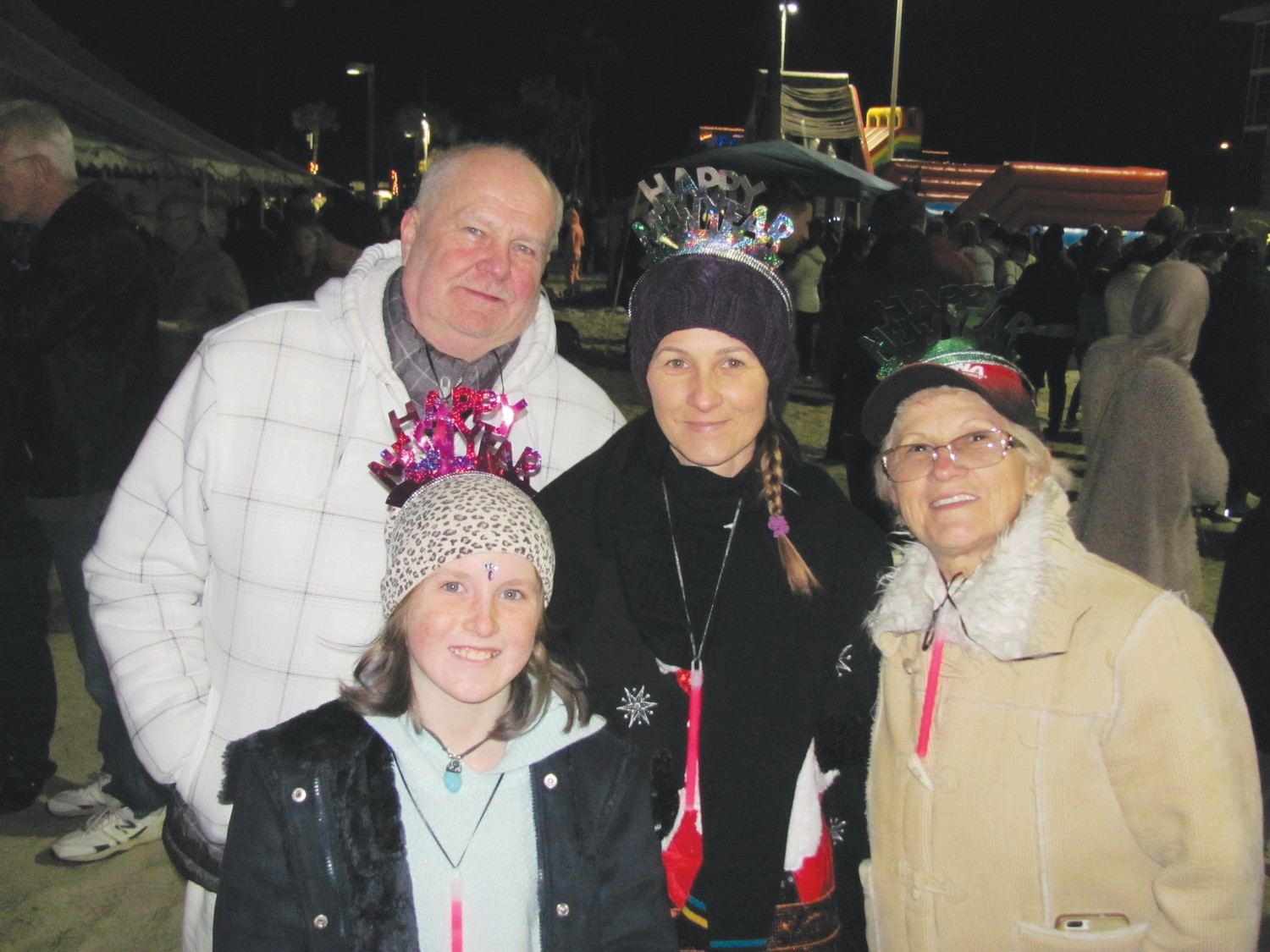 Ahila, Abigail, Auguszta and Erzsebet Tasi visit St. Augustine from Australia to celebrate the new year and enjoy the festivities at the Beach Blast Off event.