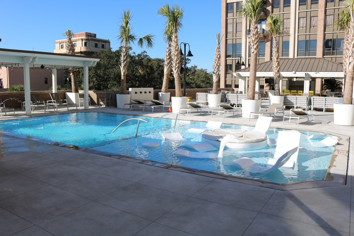 The DeSoto features a rooftop pool with fire pits, fountains and a cabana bar.
