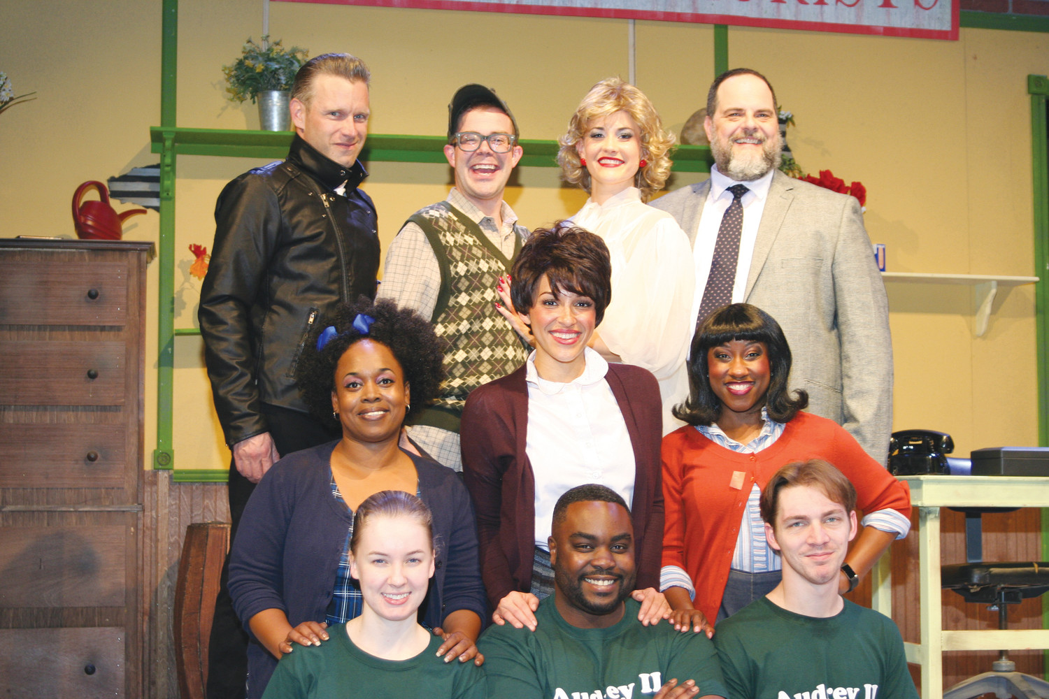 "The cast of the Alhambra Theatre & Dining production of ""Little Shop of Horrors"""