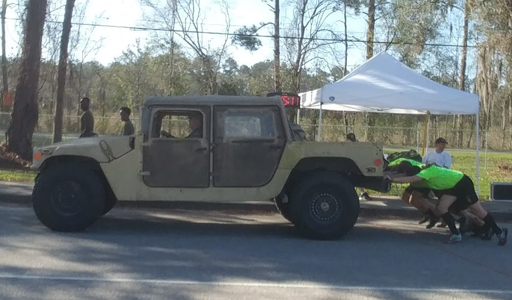 Nease NJROTC competes in the Humvee push at the 2018 Middleburg High School Pentathlon Championship Feb. 24.