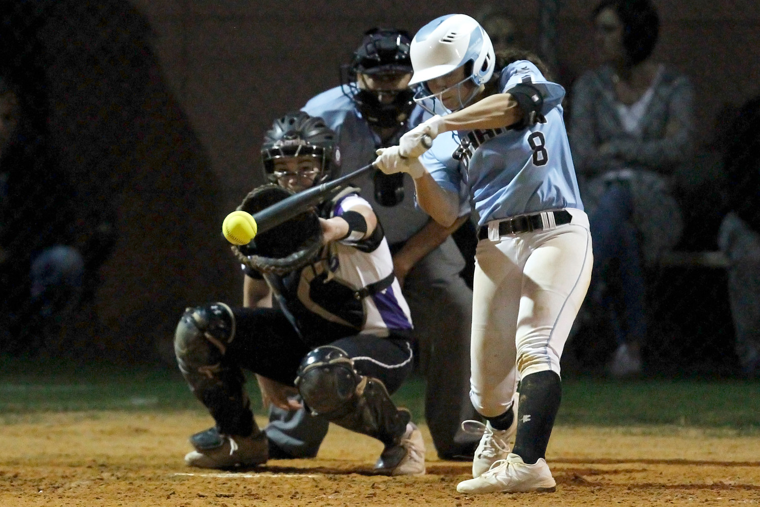 Michelle Leone smacks a solid base hit.