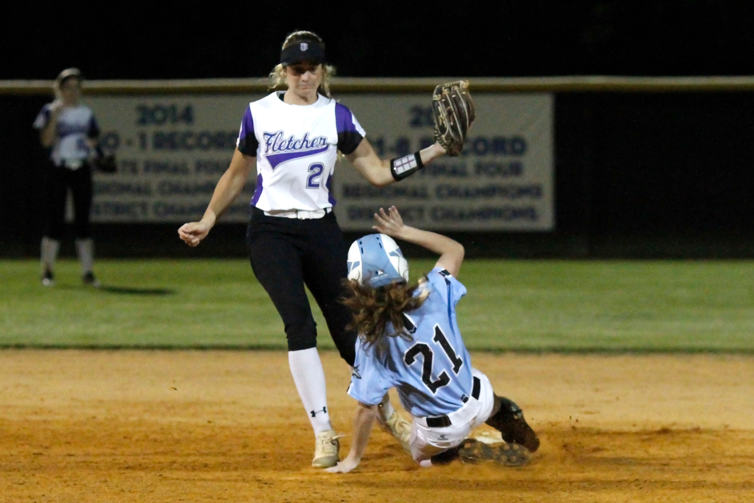 Madison Lucchino of the Sharks steals second.