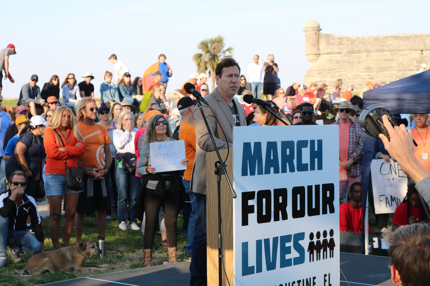 Ges Selmont, candidate for U.S. Congress 4th District, addresses the rally at the March for Our Lives event in St. Augustine on March 24.