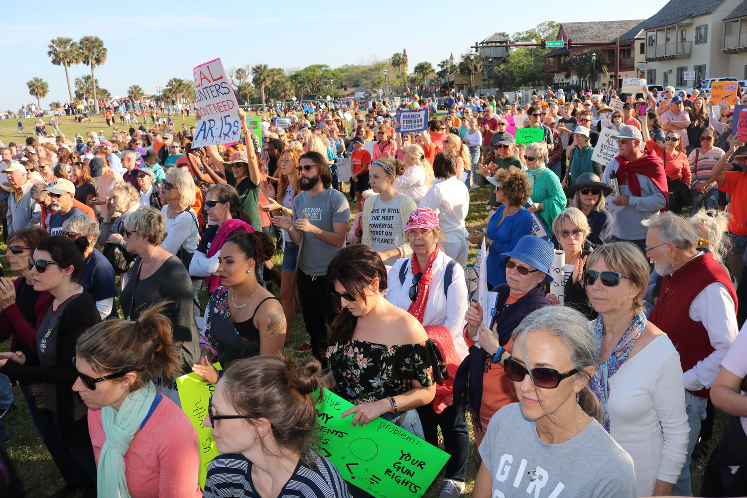 Community members join the March for Our Lives national movement in St. Augustine on Saturday, March 24. The march traveled over the Bridge of Lions and along Avenida Menendez, concluding with a rally adjacent to Castillo de San Marcos.