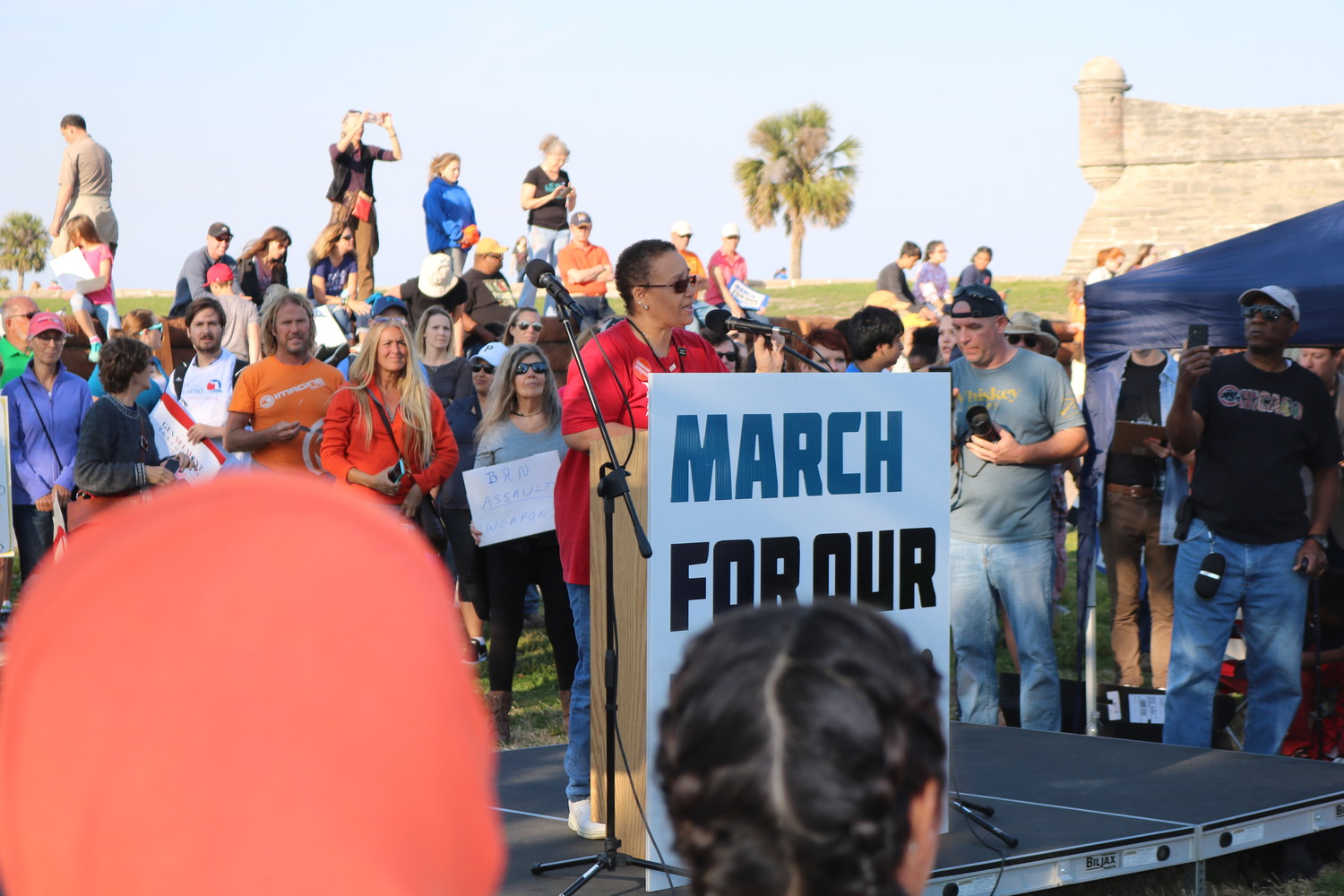 Chryl Anderson of Mom's Demand Action addresses the rally at the March for Our Lives event in St. Augustine on March 24.