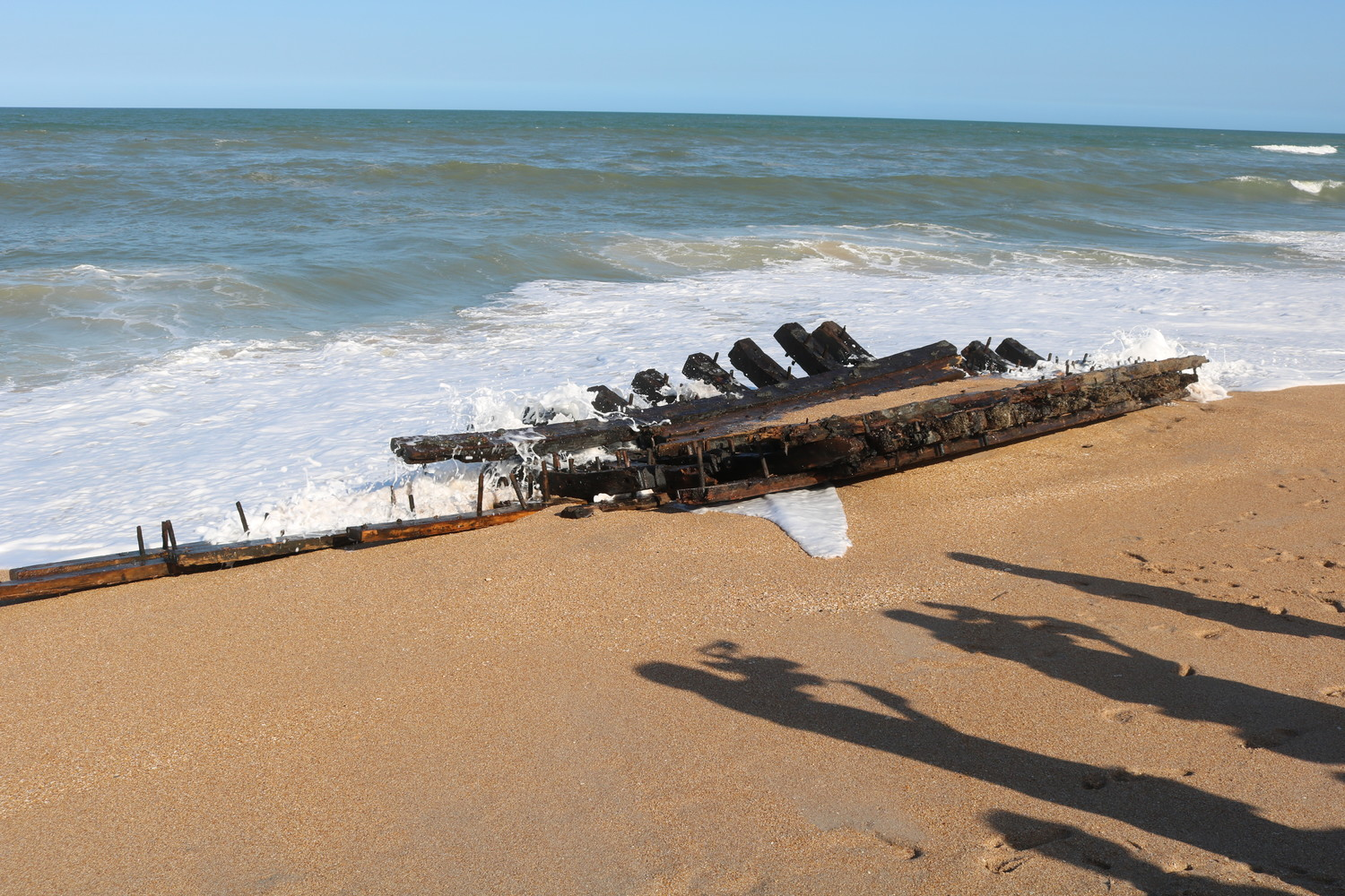 Local archaeology experts say the hull from what is likely a 19th century wooden ship washed ashore in South Ponte Vedra Beach on Wednesday morning.
