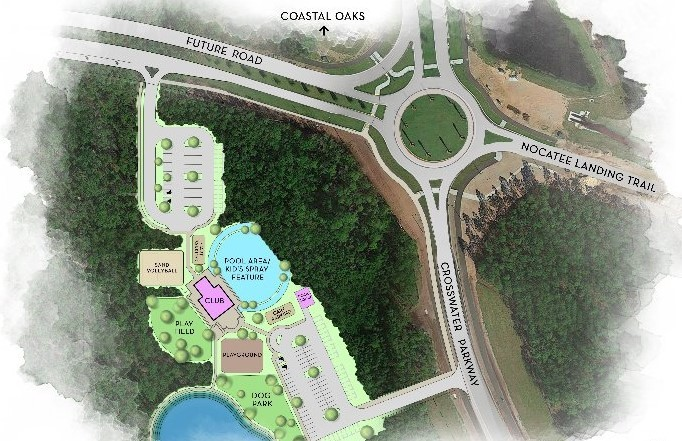 Opening in 2020, Crosswater Park (shown bottom left) will be located between Coastal Oaks and the new Crosswater neighborhoods.