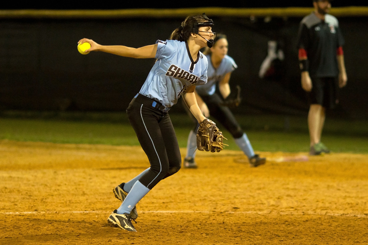 Catherine Beaton pitches in relief for the Sharks against Creekside