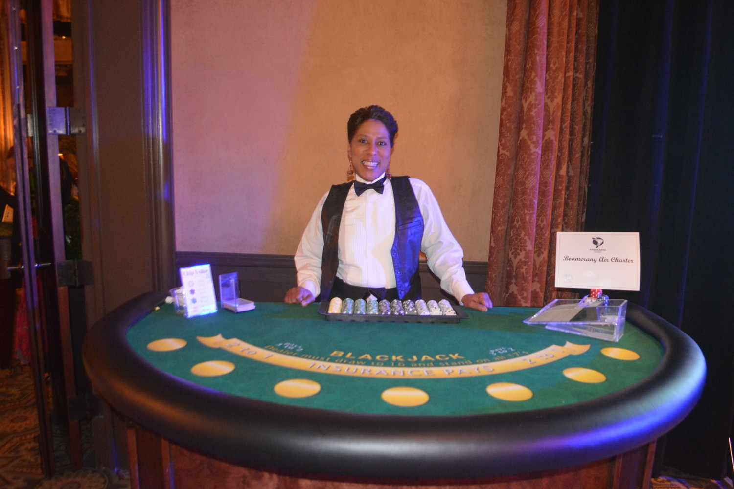 Vanessa Fleming runs the blackjack table.