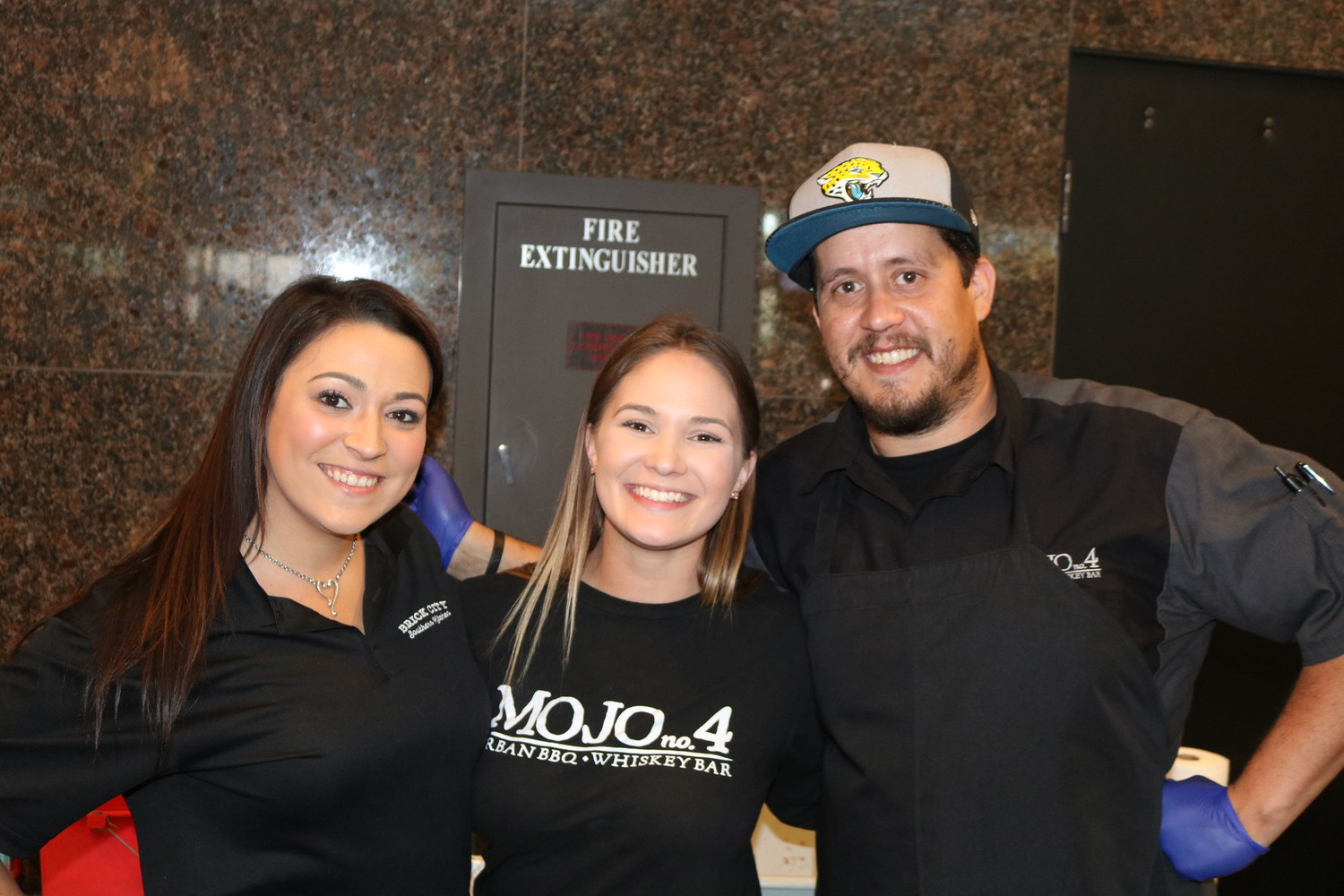 Alex Dooley, Dana Pederson and Daniel Dorancricchio of MOJO BBQ